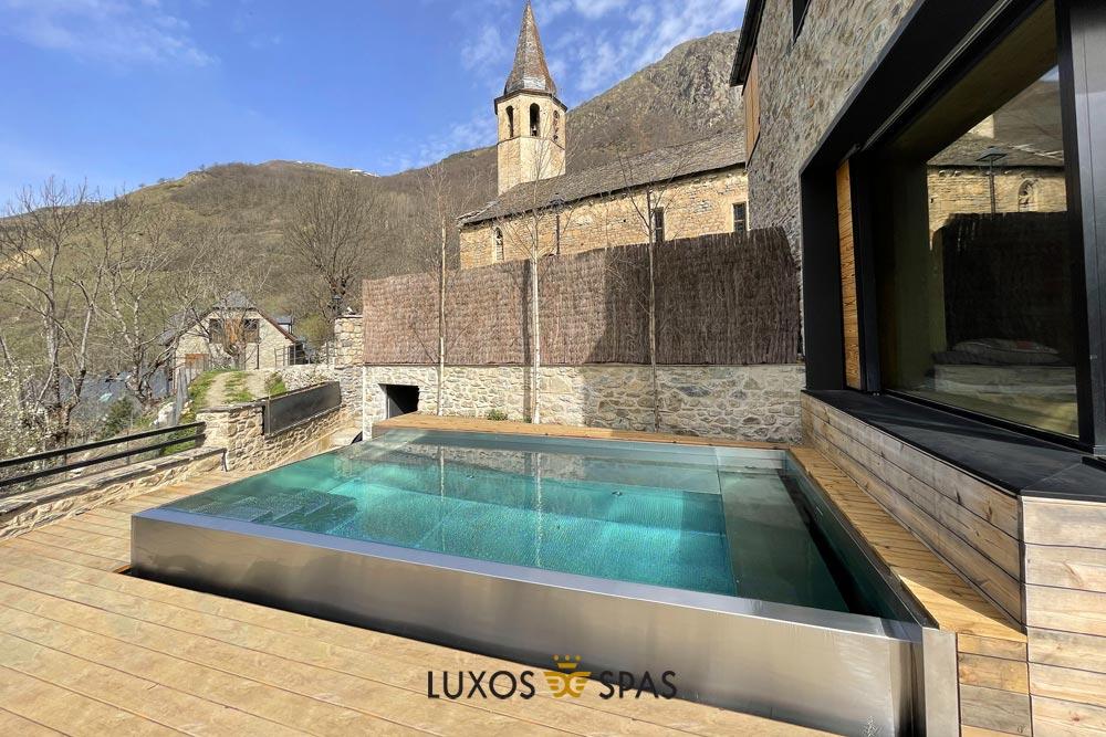 piscina desbordante en inox